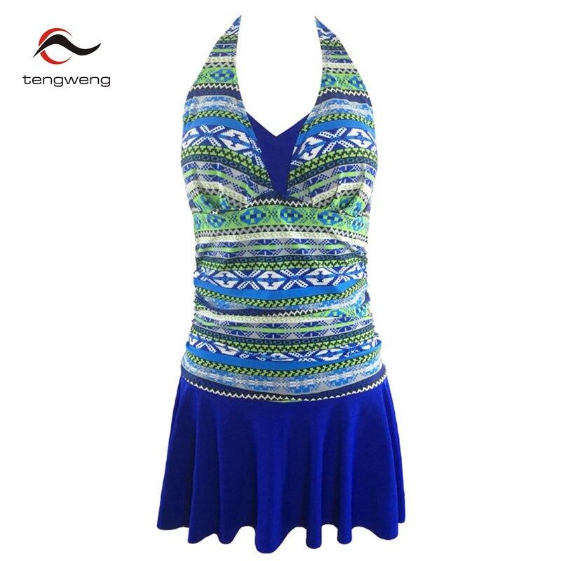 88e1cec68 2019 New Vintage Halter Swimwear Women One Piece Swimsuit Skirt Tankini Tummy  Control Bathing Suit Dress