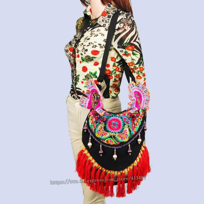 Multi-use Hmong Vintage Tribal Ethnic Thai Indian Boho shoulder bag messenger bag handmade, embroidery pom trim SYS-270R off shoulder pom pom trim top with shorts
