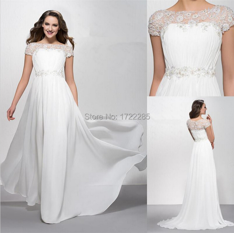 32c7ef928b8 Hot Sales Elegant Short Sleeve Beading Flowers Chiffon Long Beach Wedding  Dresses Bridal Gowns Custom Size 2 4 6 8 10 12 14 16++