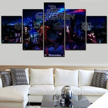 Canvas Art Print Animation Poster 5 Piece One Roles And Landscape City Background Picture Home Wall Decor Modular Painting