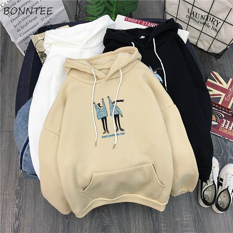 Hoodies Women Winter Thicken  Ulzzang Kawaii Long Sleeve Womens Pullover Cartoon Printed Hooded Students Ladies Sweatshirts