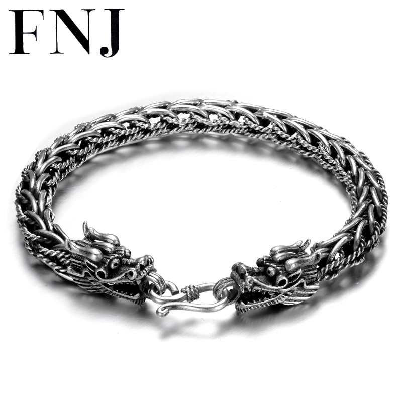 цены на FNJ 925 Silver 8mm Bracelet New Fashion Dragon Head Wire-cable Chain Original S925 Thai Silver Bracelets for Women Men Jewelry  в интернет-магазинах