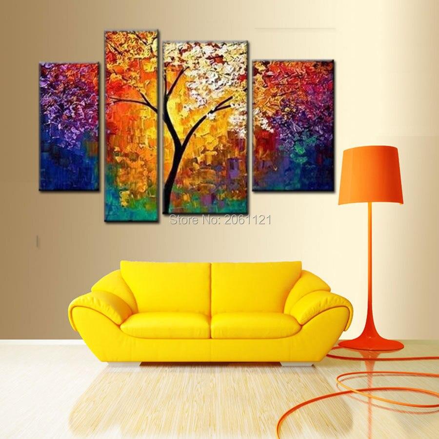 Handmade modern abstract art oil painting morning tree wall decor ...