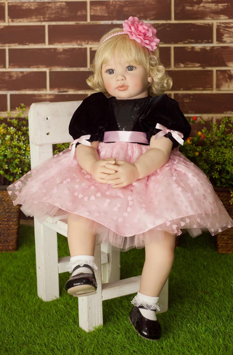 60cm Silicone Reborn Baby Doll Toys <font><b>24inch</b></font> Princess Toddler bebe modeling collectible doll Brinquedos play house toys girl image
