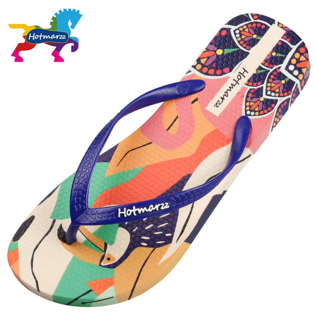 f8b79c7989009e Hotmarzz Women Designer Flip Flops Cartoon Flamingos Bird Print Slippers  Beach Sandals Summer Shoes 2018 Pool Shower Shoes