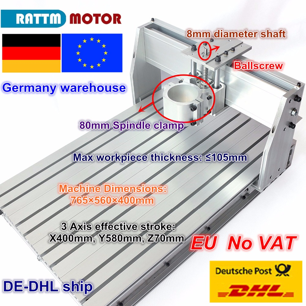 EU Free VAT DIY Use CNC 6040 CNC Router Engraver Engraving Milling Machine Frame Kit Ball Screw & 80mm Aluminum Spindle Clamp