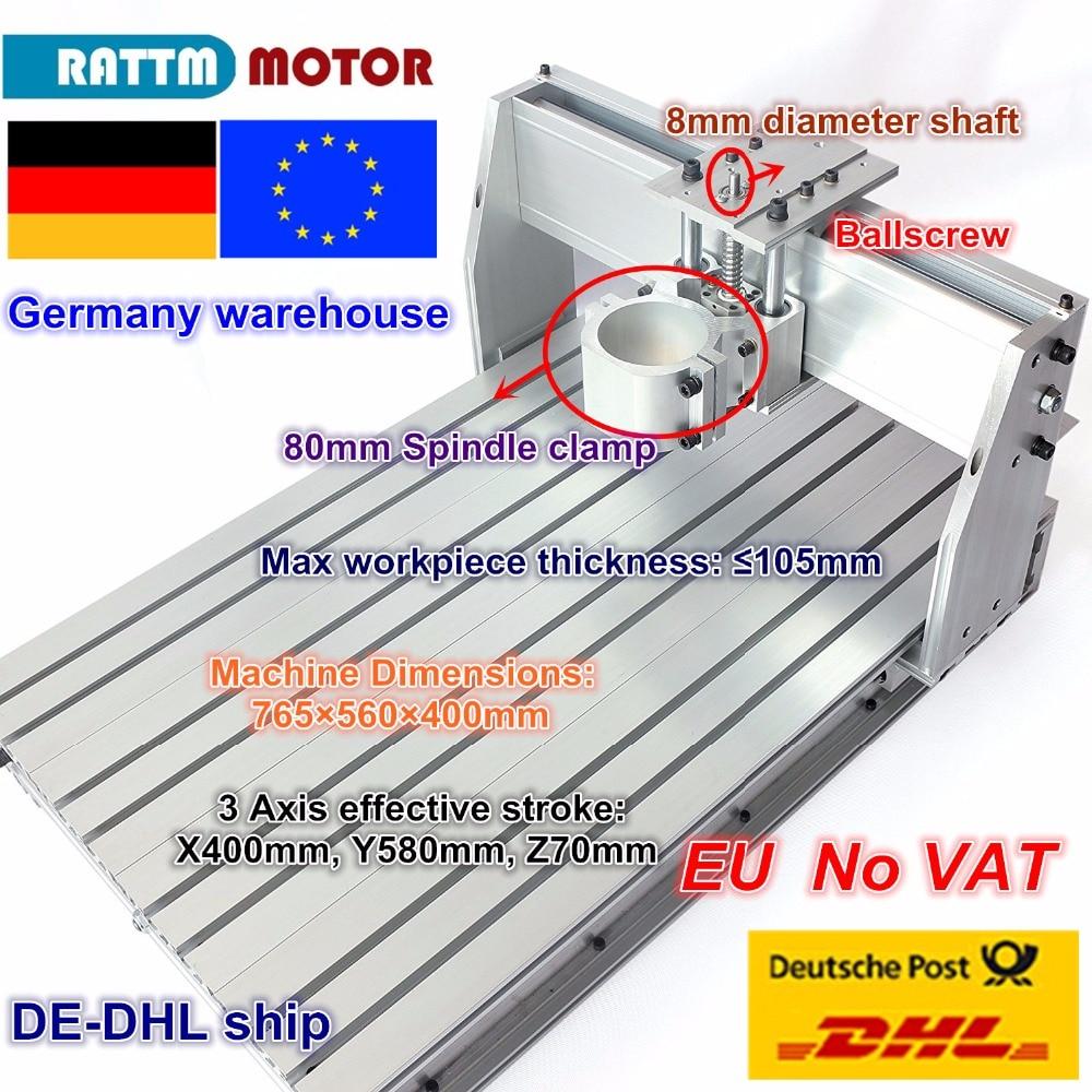 EU Ship/free VAT DIY Use 6040 CNC Router Engraver Engraving Milling Machine Frame Kit Ball Screw & 80mm Aluminum Spindle Clamp