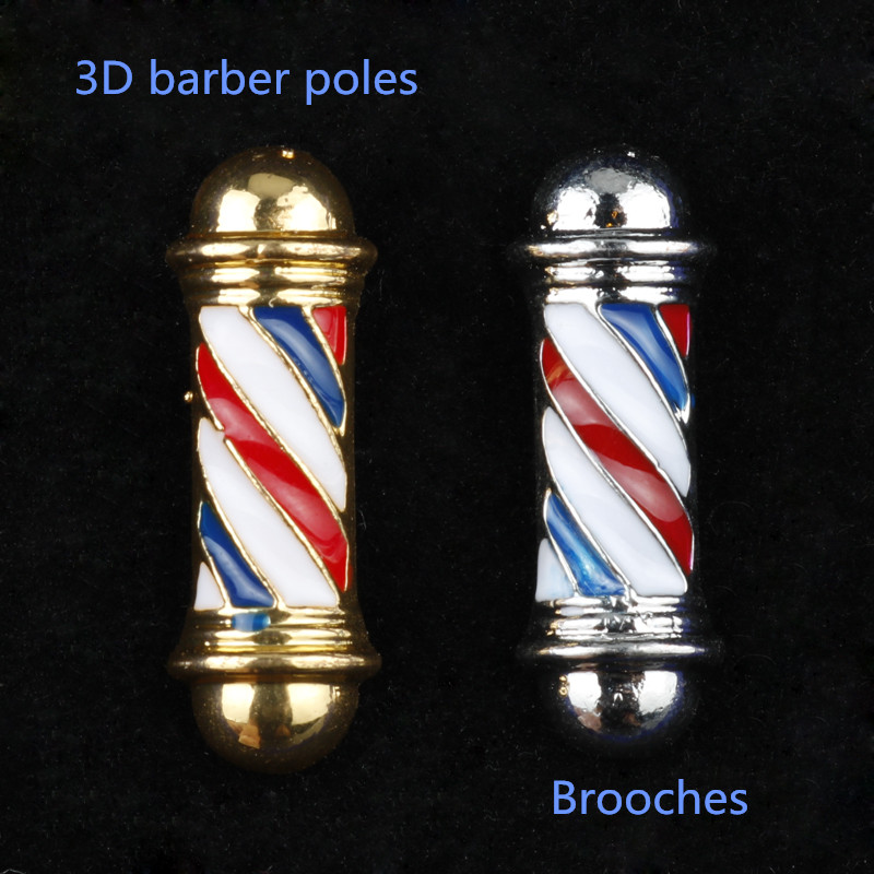 Barber Shop Barber Pole Brooches Mens Jewelry Brooch Buttons Pin Creative Accessories Hair Dresser Gifts Brooch for Shirt Suit