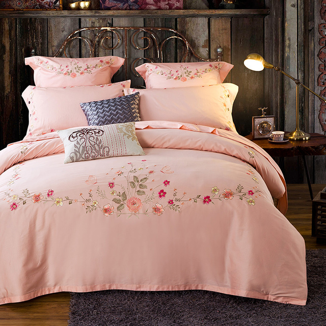 100 Cotton 4pcs S Light Pink Duvet Cover Sets Queen King Size Bedding Set With