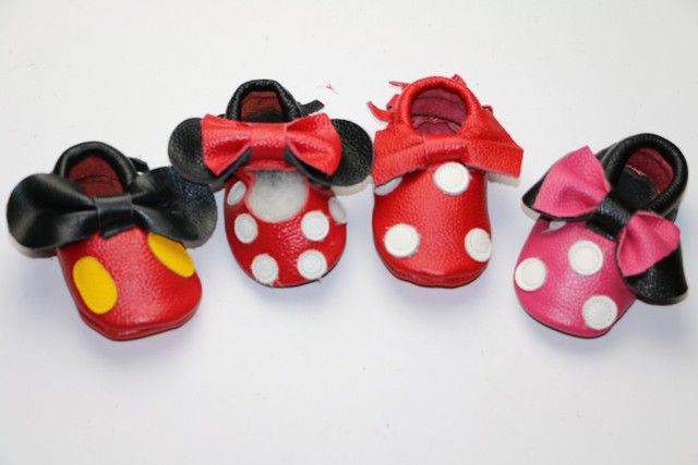 New Genuine Leather Mickey and Minnie Toddler baby moccasins tassel and bow baby shoes Hot sales First Walkers Infant Shoes