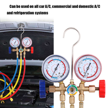 Мониторы давления Кондиционер манометр коллектора хладагента набор со шлангом и крюком для R12 R22 R404A R134A