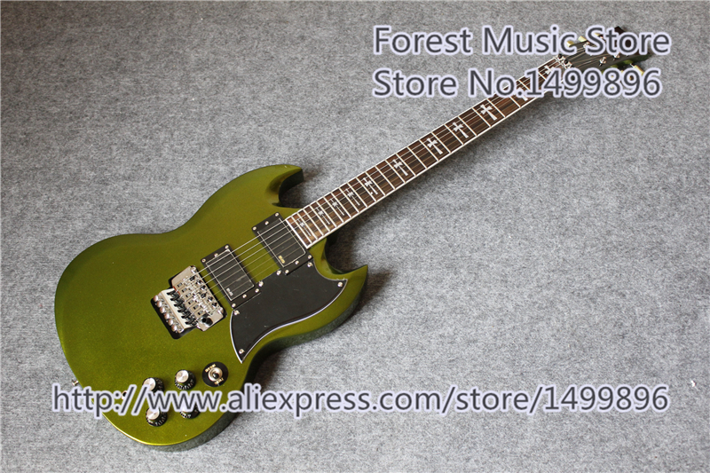 New Arrival China Metallic Green Finish Tony Lommi SG Guitars With Chrome Floyd Rose Tremolo For Sale hot selling china quilted finish musicman ax 40 electric guitar with chrome floyd rose tremolo for sale