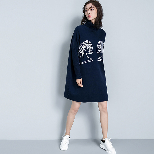 Long Knitted Pullovers Women Winter Thick Brief Fashion Jacquard Turtleneck Bat Sleeve Loose Women Oversize Knitted Warm Sweater
