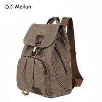 c8fea7a16 D C Meilun Female Women Canvas Backpack Preppy Style School Lady Girl  Student School Laptop Bag