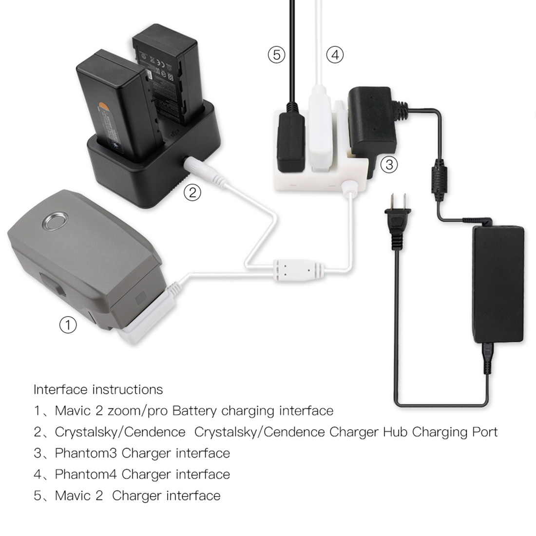 Pour DJI Mavic 2//DJI PHANTOM 3//4 Tension Chargeur Convertisseur de charge HUB Adaptateur