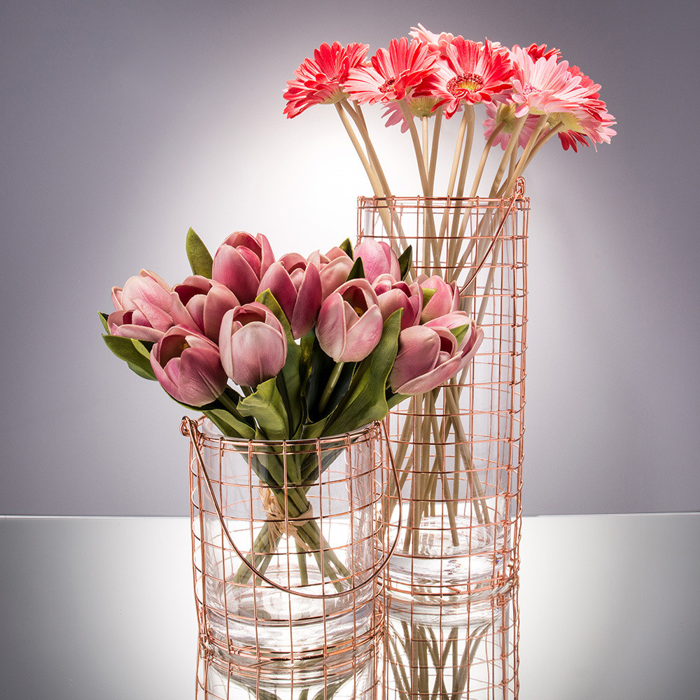 Simple Modern Glass Vase Bottle Rose Pink Iron Wire Handle Straight transparent Ornaments Water Jar