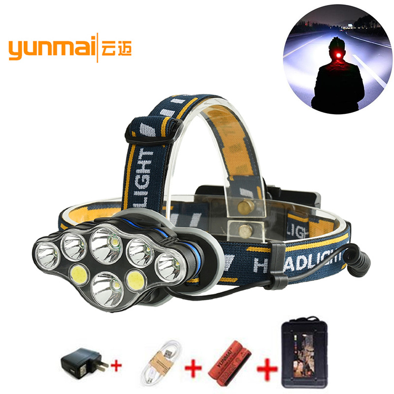T6 COB XPE LED Headlamp 8 Modes Headlight USB Rechargeable Head Torch Flashlight For Lamp Fishing Hunting 18650 Battery B2