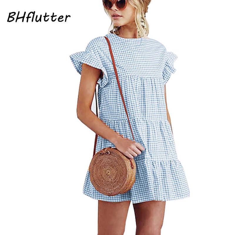 BHflutter 2018 Для женщин летнее платье с расклешенными рукавами жатый плед печати Симпатичные короткое платье; с круглым вырезом Повседневное сладкий Платья для вечеринок Vestidos