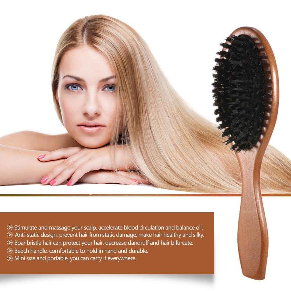 Natural Boar Bristle Hairbrush Massage Comb Anti Static Hair Scalp
