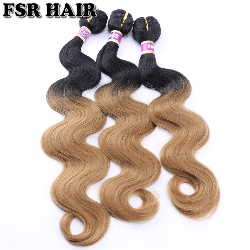 16-20 Inches 70Gram One Piece Ombre hair Bundles Soft Ombre Synthetic hair Extensions  Curly weave hair for women