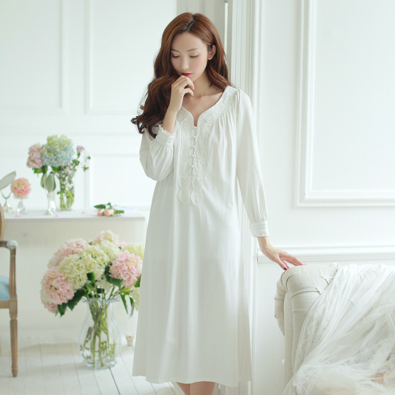 049118dfc7304 Pregnant Lace Sleep Dress Long Sleeve Cotton Maternity Nightgown Princess  Nightdress Plain White Pink Brief Pregnancy Sleepwear