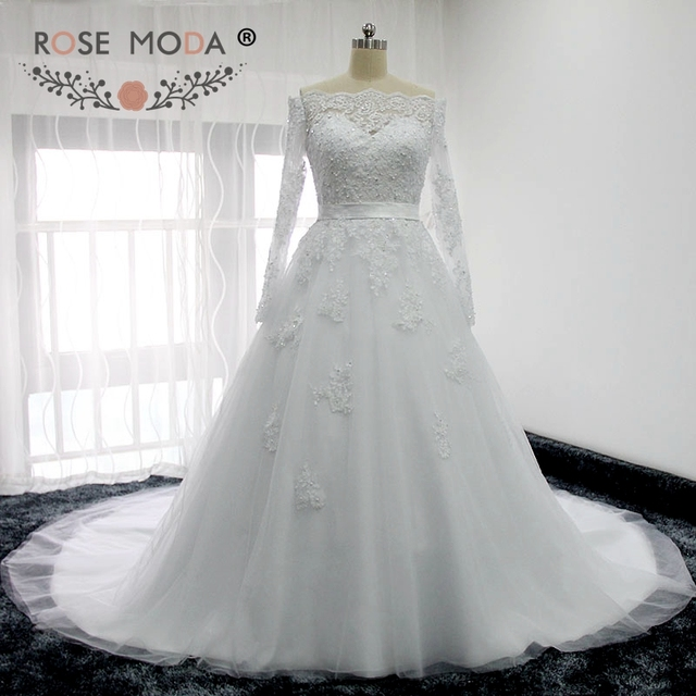 Rose Moda Boat Neck Long Sleeves Lace Wedding Dress With Removable Bow Illusion Back Plus Size