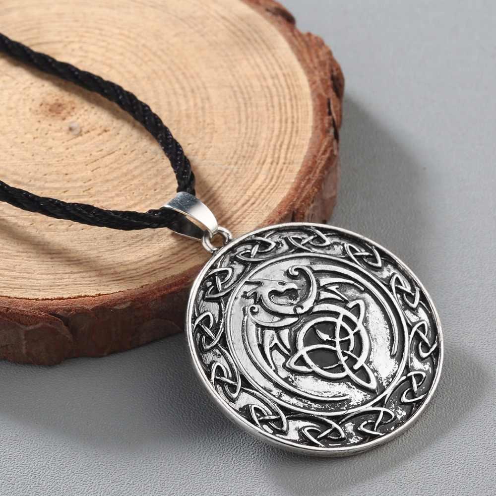 CHENGXUN moda męska naszyjnik Celtic smok wisiorek naszyjnik chłopcy skrzydło naszyjnik Norse Pagan runy wikingów biżuteria religijna