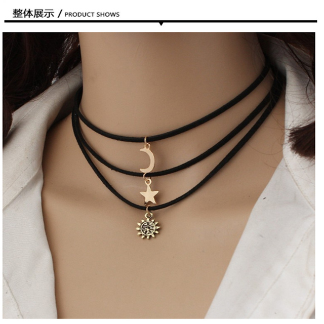 GERUISHA Vintage Multilayer Crystal Pendant Necklace Women Gold Color Beads Moon Star Sun Horn Crescent Choker Necklaces Jewelry