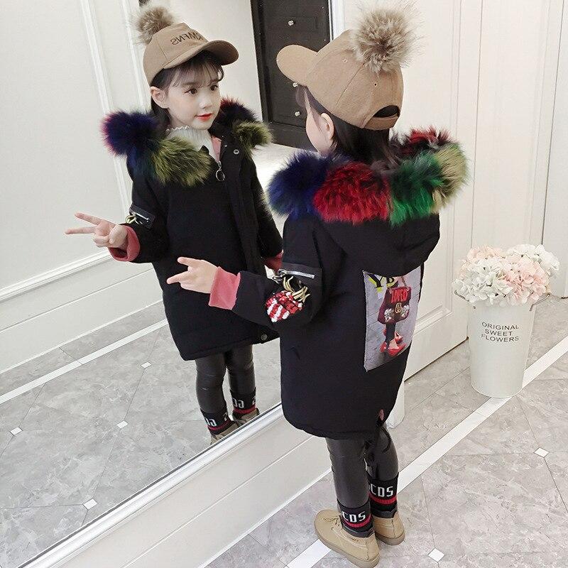 2019 nouveau manteau chaud à capuche pour enfants veste longue brodée pour enfants en laine de coton outwear garçon fille veste à glissière 18N1126
