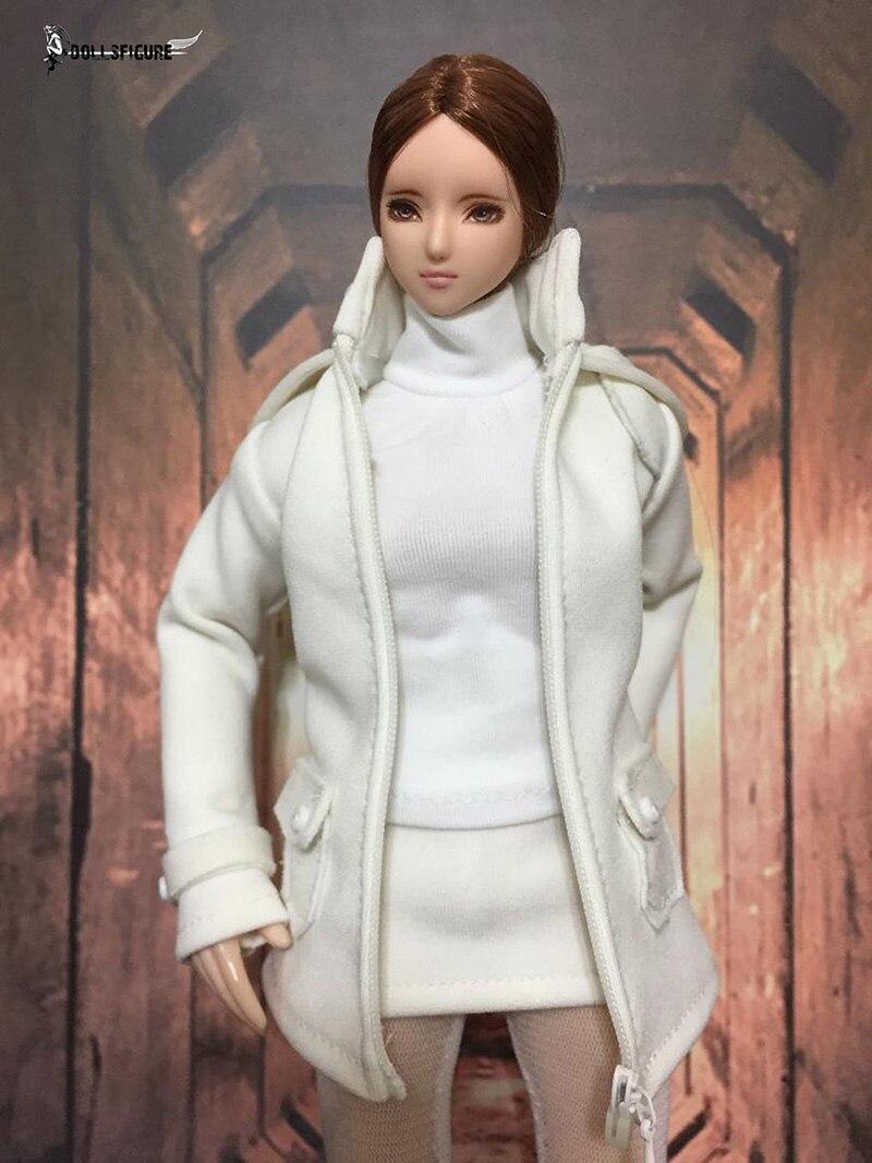 """1//6 White Coat Suit Warm Skirt Shirt Stockings Clothing Set F 12/"""" Female Figure"""