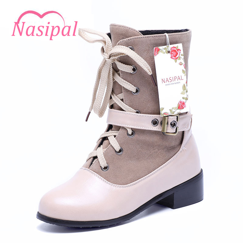 Nasipal Women Boots Female Winter Shoes Woman Warm Ankle Boots Fashion Flock Ankle Buckle Booties Lace-up Size 30-46 C158