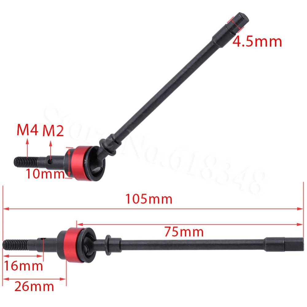 2PCS Hard Steel Front Axle CVD Drive Shaft for 1/10 Axial SCX10 Upgrade Option Parts Hop-Up steel drive shaft joint cvd 110 155mm