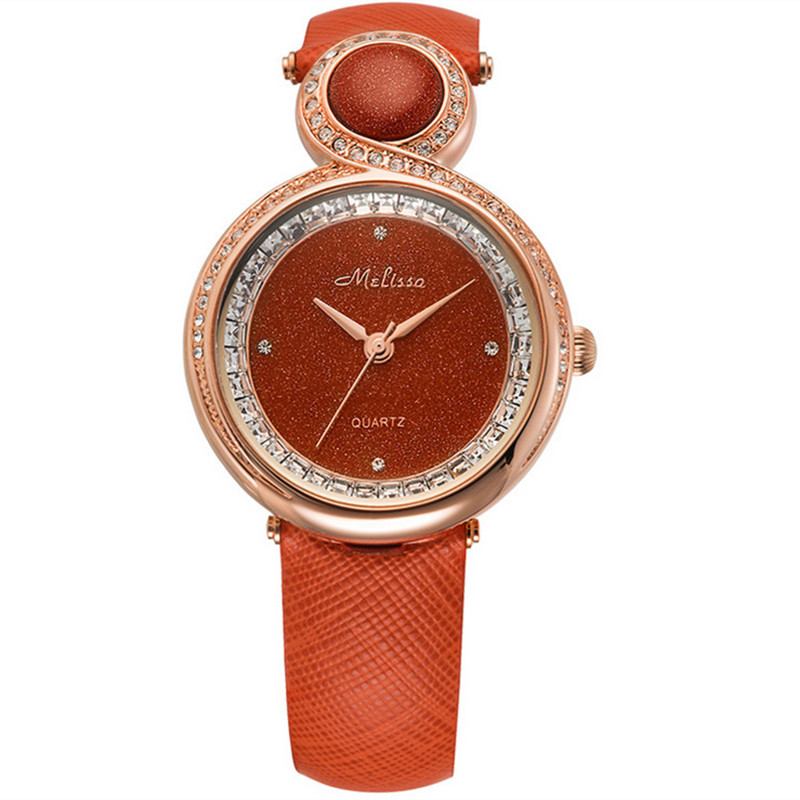 Melissa New Fashion Designer Women Luxury Sky Stars Watches Twinkly Crystals Dress Wristwatch Real Leather Quartz Jewelry Montre đồng hồ binger bg54