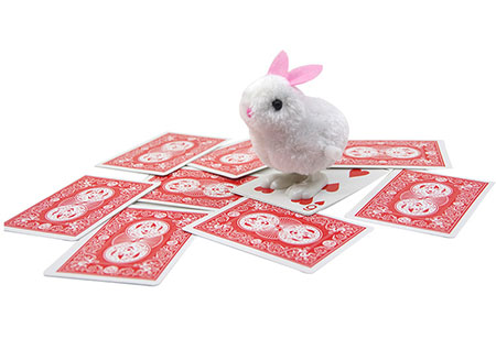 Smart Rabbit Magic Tricks Rabbit Jumps To The Chosen Card Magia Close Up Illusion Gimmick Props Comedy