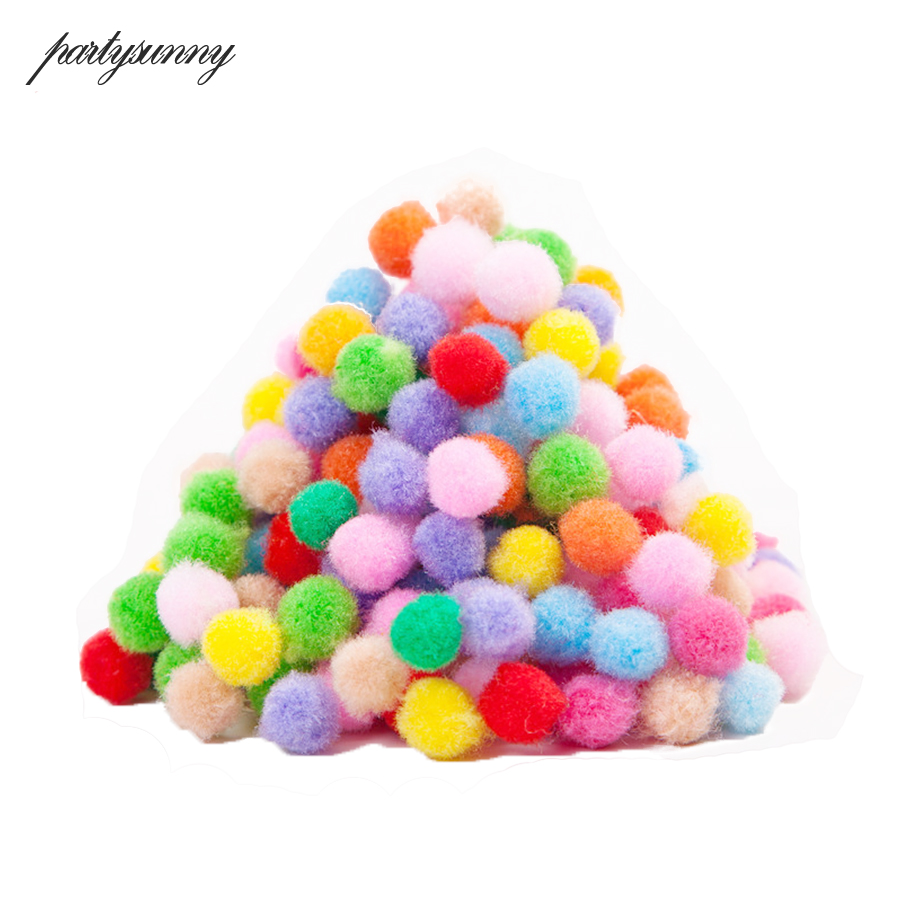 100Pcs Lot 10mm Multicolor Home Decorative Flower Crafts Toy Head Wreaths Pompom Soft Pom Pom Balls