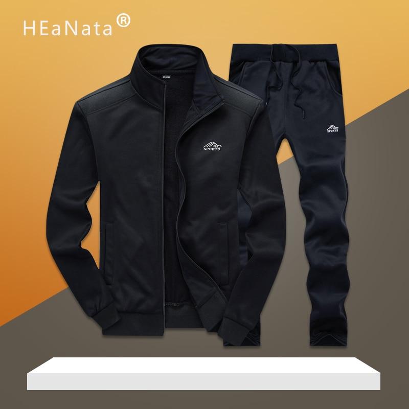 Men Sporting Suits Gym Sets Spring Autumn Jogging Fitness Training Suits Warm Tracksuits Men Sportwear 2PCS Jacket Long Pants
