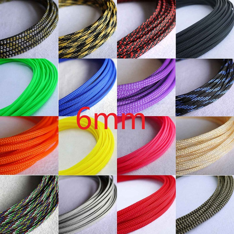6mm Braided PET Expandable Sleeving New High Quality Multi Color Selectable