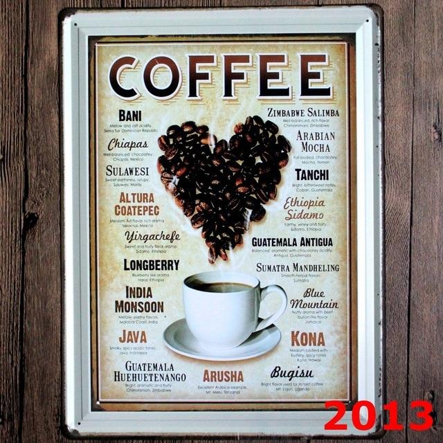 american coffee menu design wall sticker big size metal painting tin