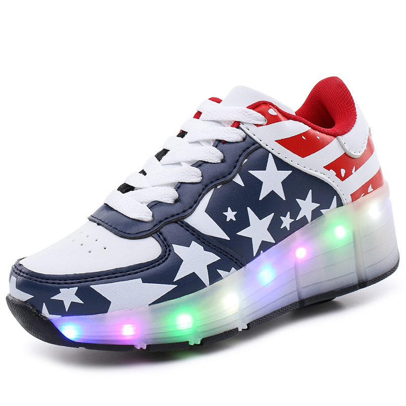 Light LED Lights Shining Single Wheel <font><b>Roller</b></font> Shoes Authentic Super Light Men And Women Shoes Children