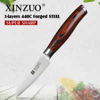 XINZUO 3.5 ''果物ナイフ 3 層 440C クラッド鋼包丁ステンレスユーティリティユニバーサルナイフカトラリー Pakkawood ハンドル