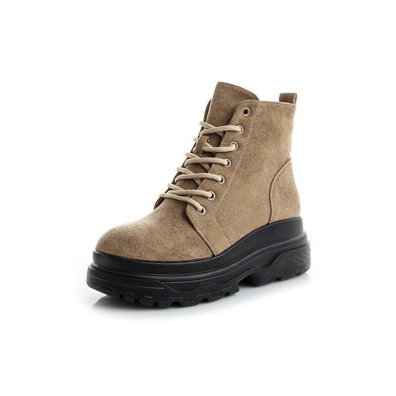 Microfibra Camel Botas Sólido Primavera Dulce Del otoño Cordón Marca A947a Plataforma black Mujer Cuñas Zapatos nwYO0