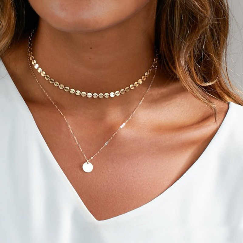 Double Layer Gold Sequin Coin Necklace Dainty  Round Choker Necklace For Women Necklace Pendant On Neck Jewelry