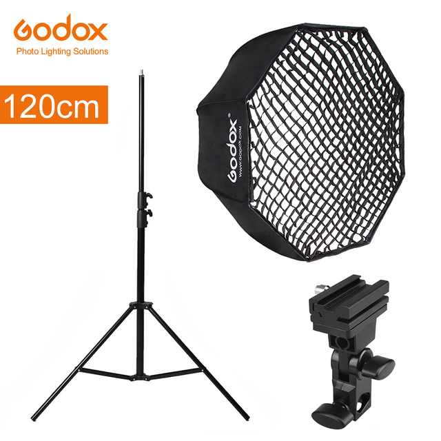 """Godox Portatile 120 centimetri 47 """"Octagon Softbox Ombrello con Griglia A Nido Dape, 2.8m di Luce Del Basamento, supporto della Staffa per Flash Speedlight"""