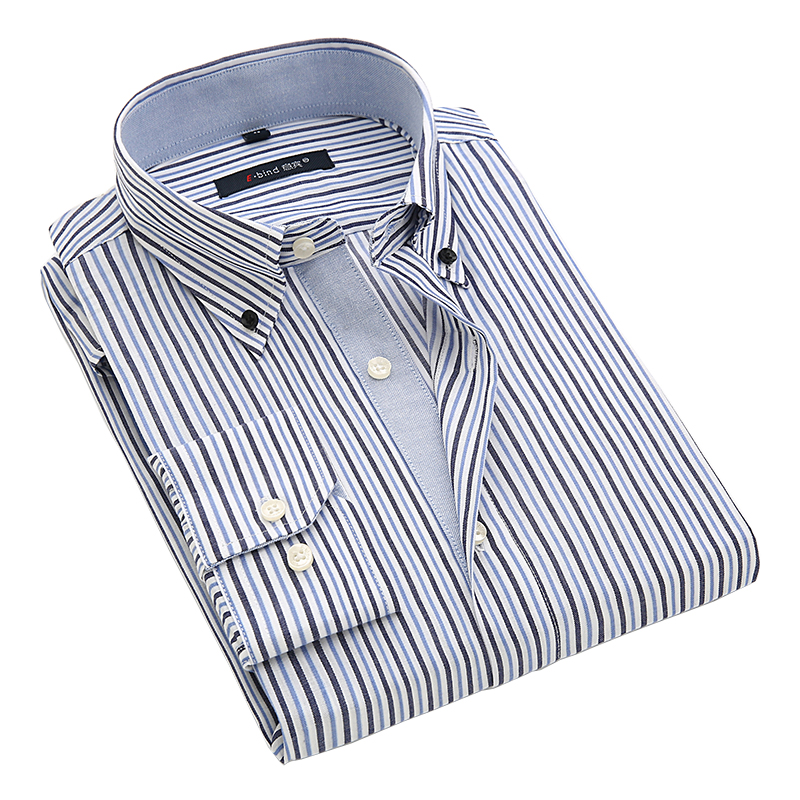 Autumn 2016 men 39 s no pocket stripe business oxford dress for Dress shirt no pocket