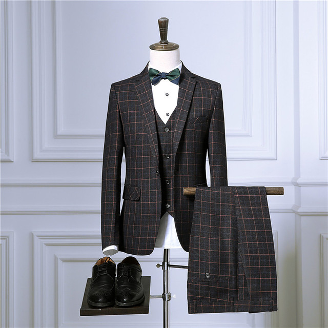 Business Plaid 3 Piece Suit Jacket Coat Trousers 2