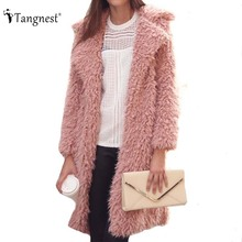 TANGNEST Autumn Winter Women Coat 2016 New Solid Color Warm Big Size Long Sleeve Turn-Sown Collar Overcoat for female WWD258