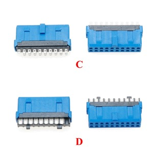 Image 4 - YuXi 2pcs/lot USB 3.0 20pin 19pin male connector 90 /180 degree motherboard chassisplugged plate IDC 20 pin connector socket