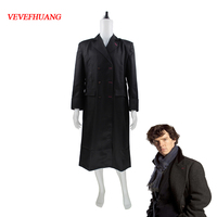 VEVEFHUANG Sherlock Holmes Men Winter Warm Cape Coat Outfit Halloween Cosplay Costume Wool Version