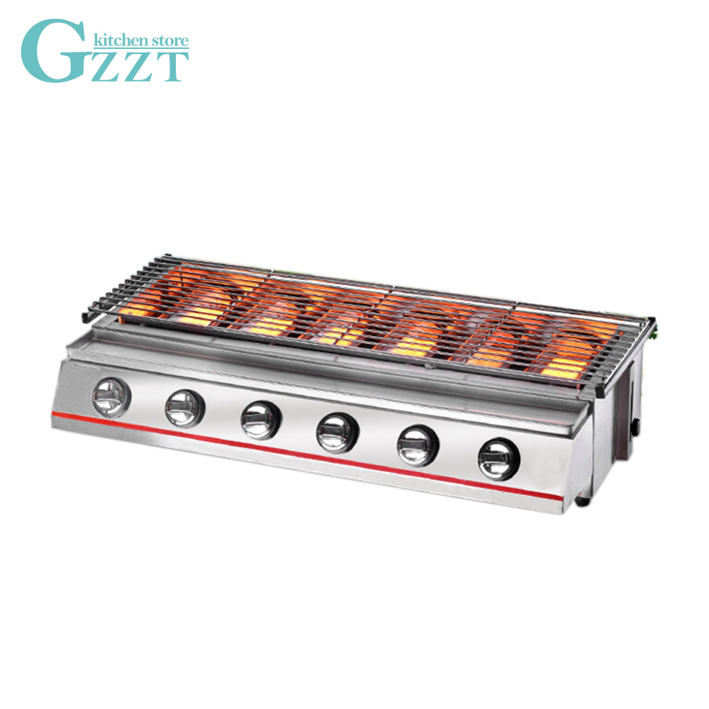6 Burners Stainless Steel Gas BBQ Grill Steel shield/Glass shield 790*250mm Grill Size Barbecue Outdoor Picnic