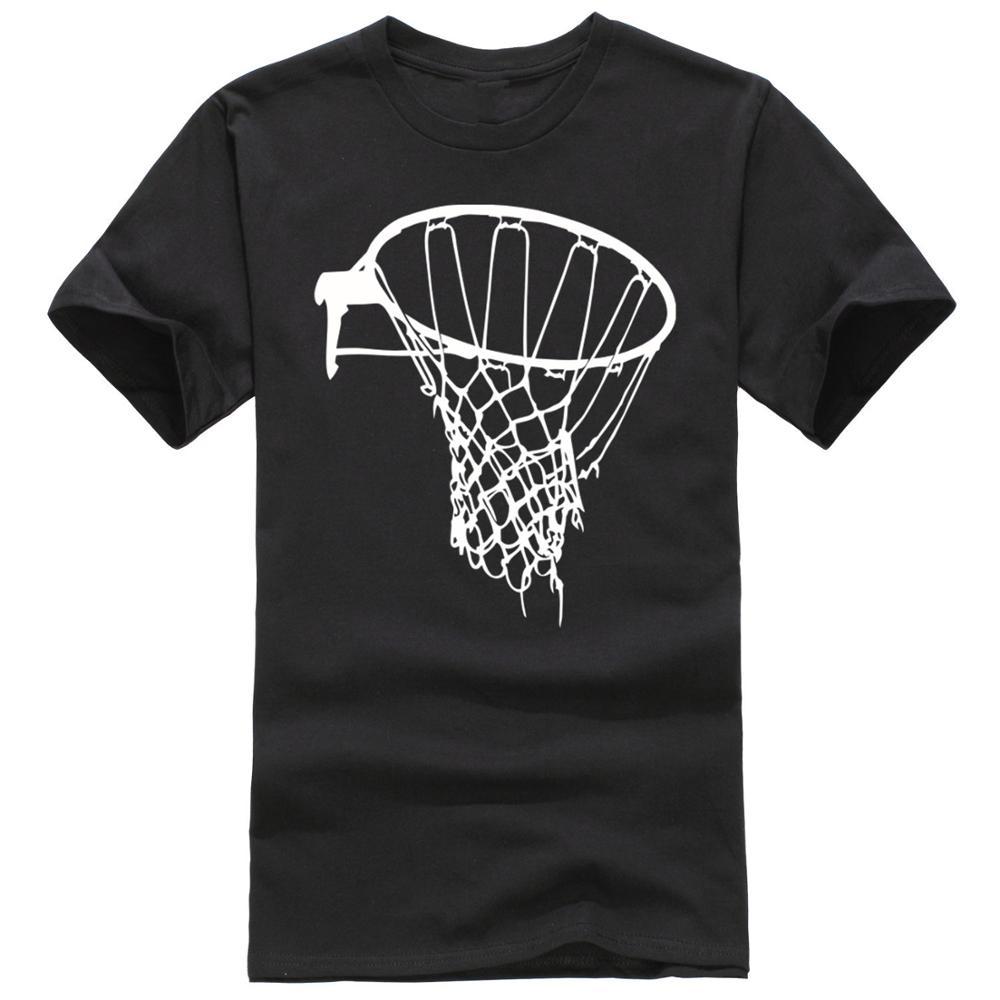 Text Cotton O-Neck Short-Sleeve Shirts Basketballer Basket Net Pattern Design For Men